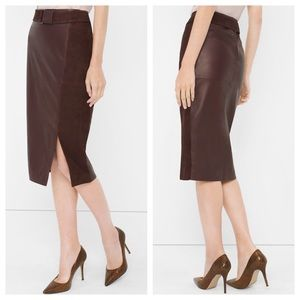 WHBM Oxblood Suede & Leather Pencil skirt 00